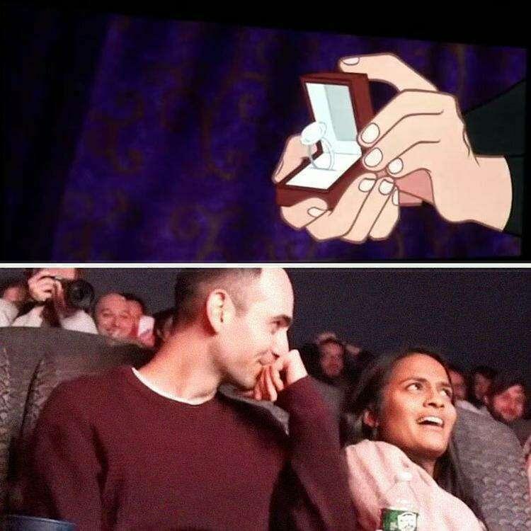 Мужчина вмешался в сюжет мультфильма ради предложения любимой