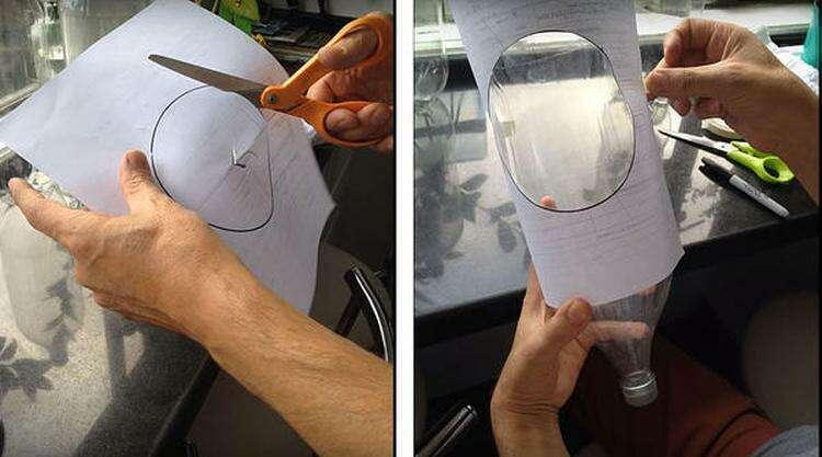 Размечаем отверстие на бутылке. Фото автора