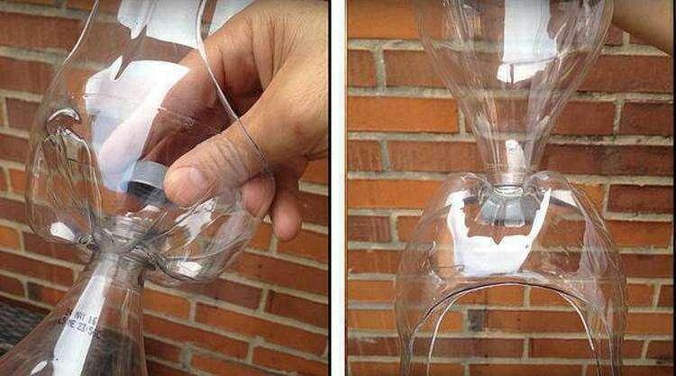 Стыковка бутылок в гирлянду. Фото автора
