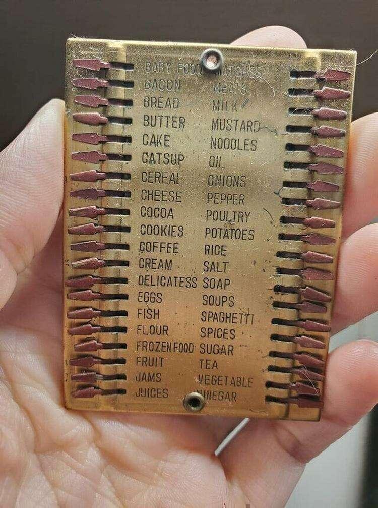 14. Старый список покупок, сделанный из металла